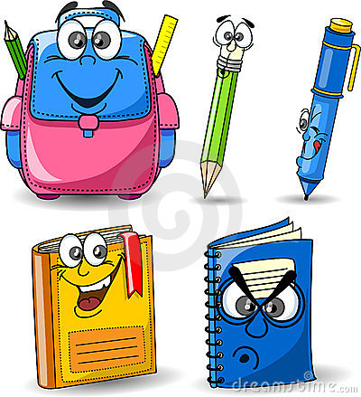 Cartoon school bags, pencils, books vector
