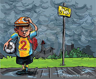 Cartoon of schoolboy caught in the rain