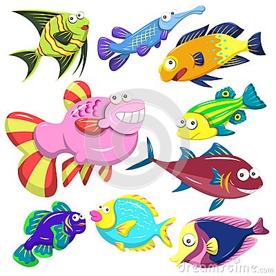 Cartoon sea animal illusration collection