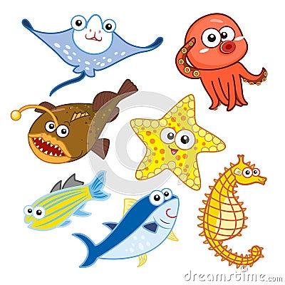 Free Cartoon Sea Animals Set With White Background Royalty Free Stock Photos - 32193738