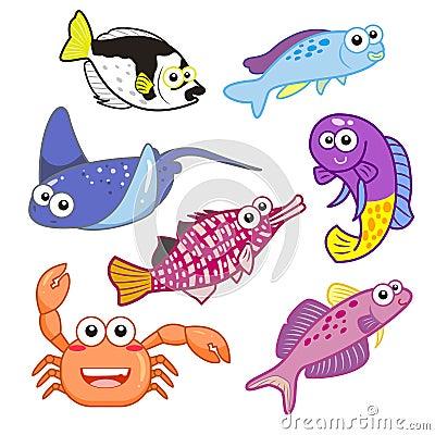 Free Cartoon Sea Animals Set With White Background Stock Photos - 32193743