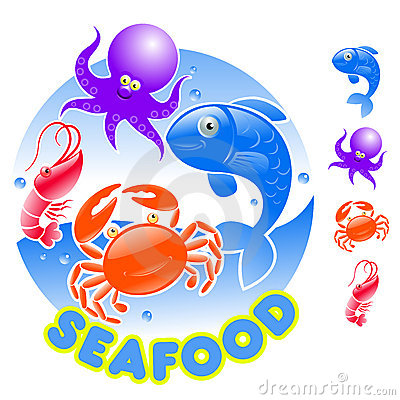 Cartoon Seafood Logo Stock Photos Image 8094373