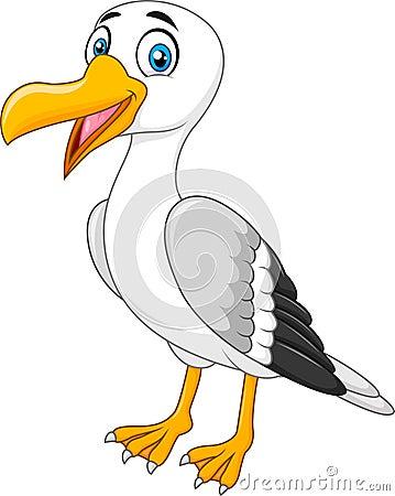 Free Cartoon Seagull Posing On White Background Stock Photos - 63590503
