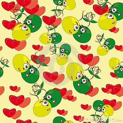 Cartoon seamless with animated strawberries