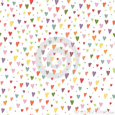 Free Cartoon Seamless Background With Colorful Hearts And Circles Bac Stock Photography - 65238692