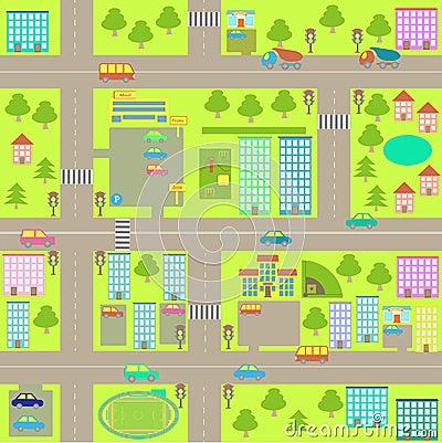 Free Cartoon Seamless City Map Stock Photos - 32870253