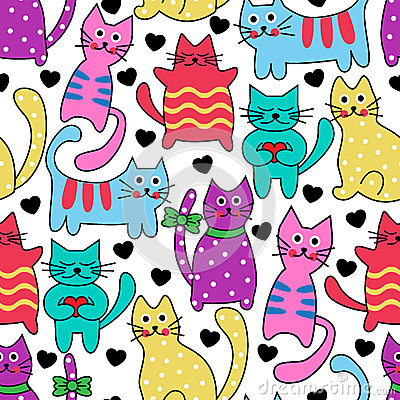 Free Cartoon Seamless Colorful Cats Stock Photo - 40620020