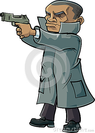 Cartoon secret agent with a trench coat and gun