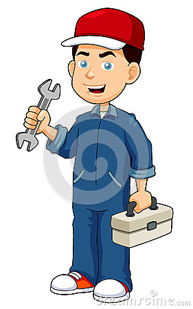 Cartoon serviceman holding tool box