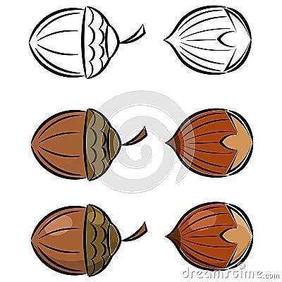 Cartoon set of  images of hazelnut and acorn