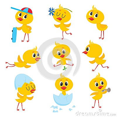 Free Cartoon Set Of Cute Easter Baby Chicken Character Royalty Free Stock Photos - 104840398