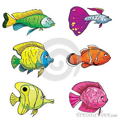 Free Cartoon Set Of Tropical Fish Royalty Free Stock Photography - 19260237