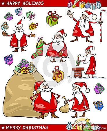 Cartoon Set of Santa Christmas Themes