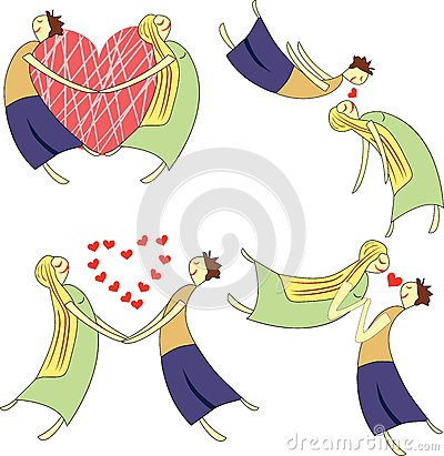 image of lovers animated. Stock Images: Cartoon set of two lovers