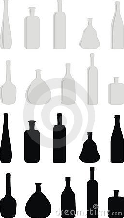Cartoon set of wine bottles