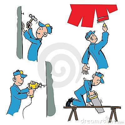 Cartoon set of workman doing different DIY chores