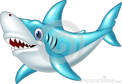 Cartoon shark isolated on white background Vector Illustration