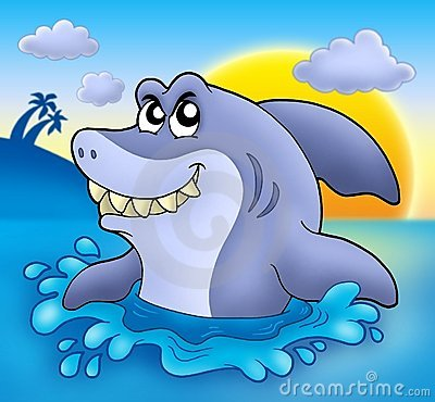 Cartoon shark with sunset