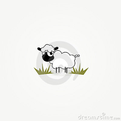 Cartoon sheep in grass patch