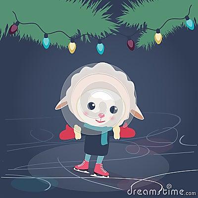 Cartoon sheep ice skating