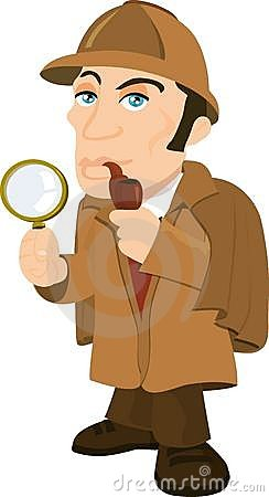 Cartoon Sherlock Holmes with a magnifying glass
