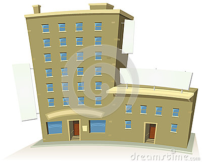 Cartoon Shop Building With Apartments And Banners