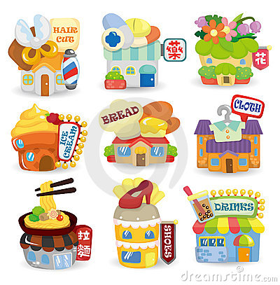 Cartoon shop building icon set