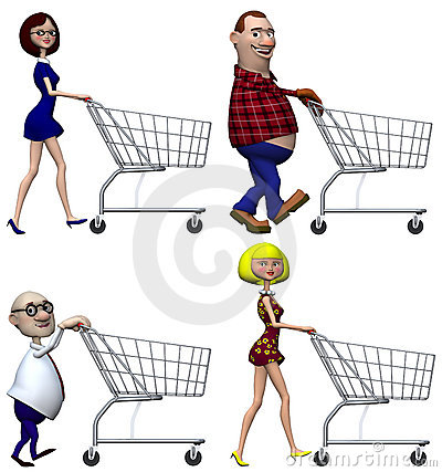 Cartoon Shoppers Shopping Cart