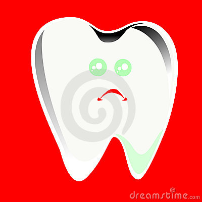 Cartoon Single extracted tooth with caries decay i