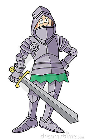 Cartoon skinny knight in armor