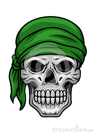 cartoon skull in green bandana stock vector image 50288354