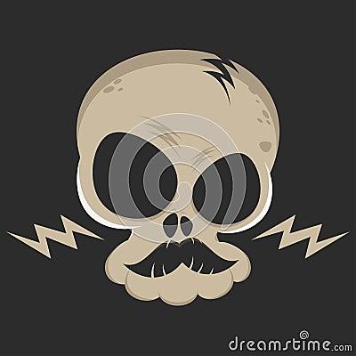Cartoon skull with lightning bolts