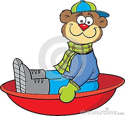 Cartoon sledding bear