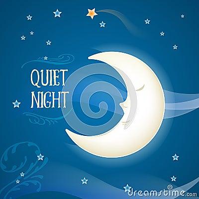Free Cartoon Sleeping Moon Stock Images - 49685734