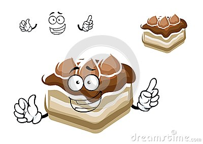 Happy chocolate cake cartoon character with biscuits and sweet vanilla ...