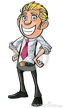 Cartoon smiling businessman looking confident