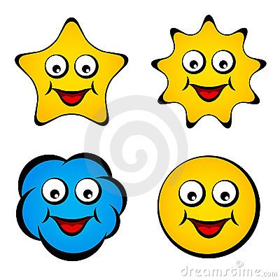 Cartoon smiling face star sun cloud smiley