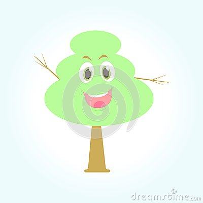 Cartoon smiling  green tree