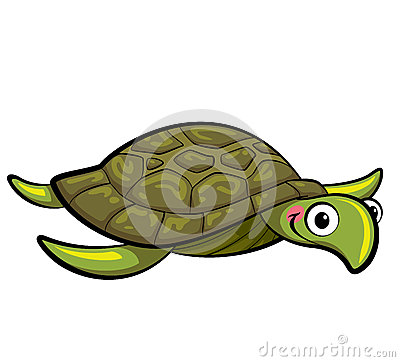 Cartoon smiling sea turtle