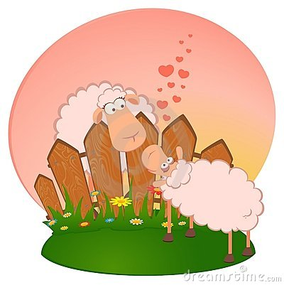 Cartoon smiling sheep in love