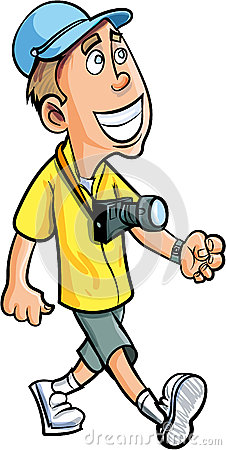 Cartoon Smiling Tourist With A Camera Stock Photography ...