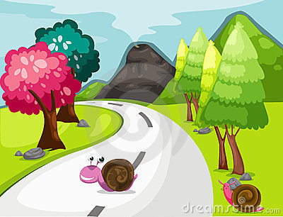 Cartoon snail crossing road