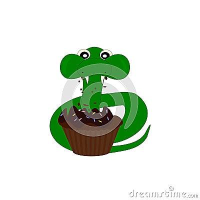 Cartoon snake eat cake