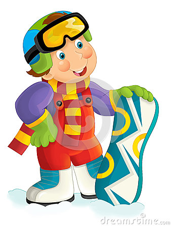 Cartoon snowboarder - boy Cartoon Illustration