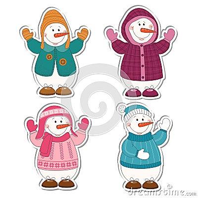 Cartoon snowman isolated on white