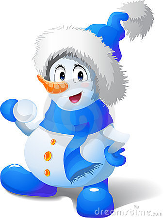 Cartoon snowman play snowballs