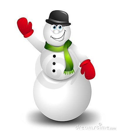 Cartoon Snowman Waving