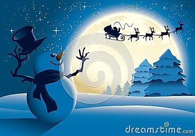 Cartoon Snowman Waving To Santa Sleigh - Blue