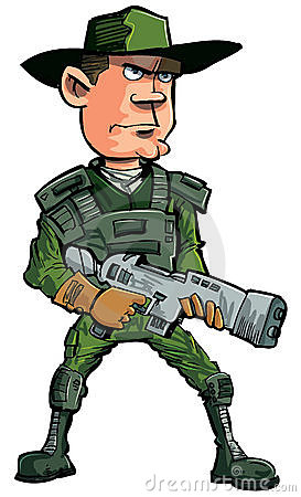 Cartoon soldier with a automatic rifle