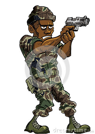 Cartoon soldier with a hand gun